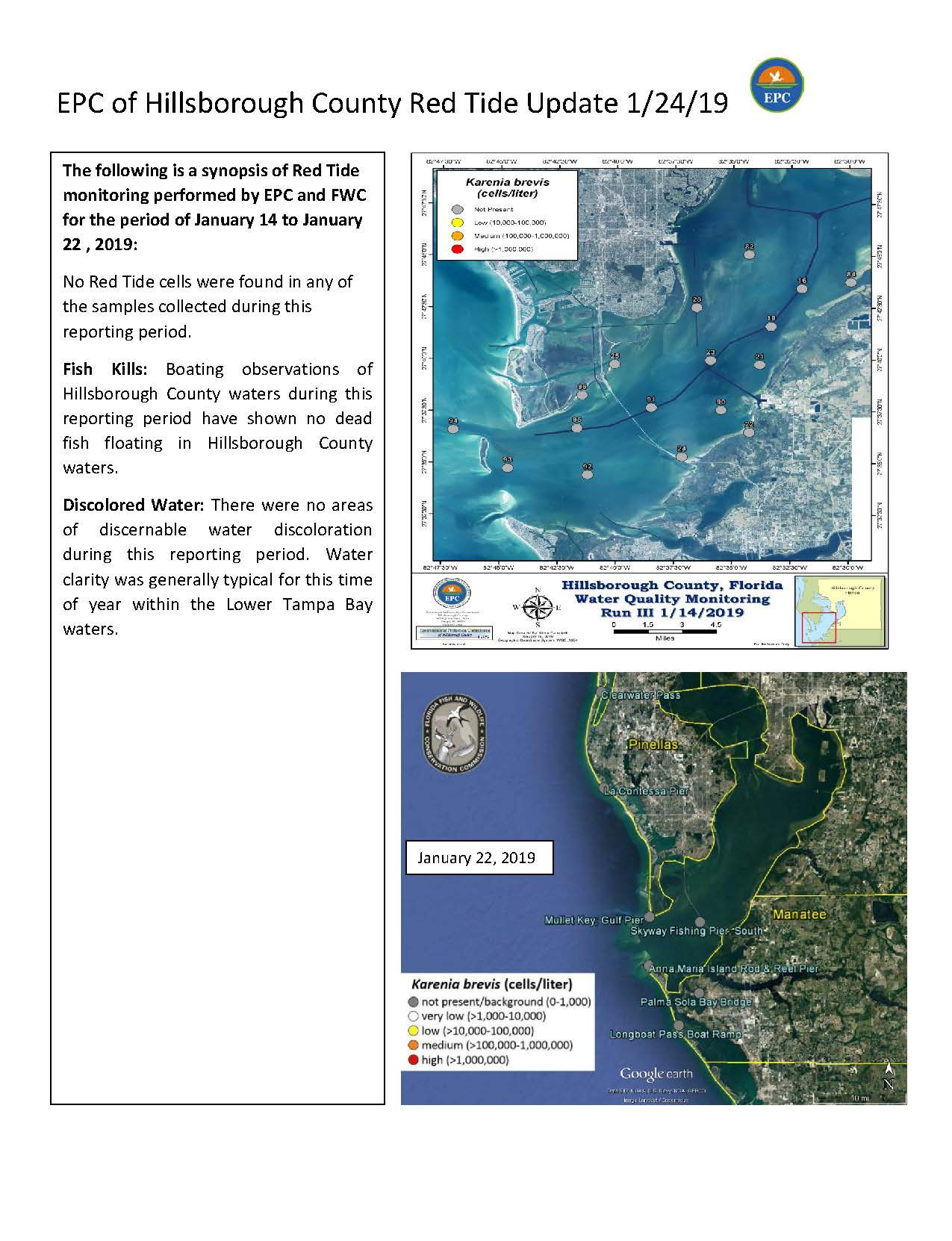 Red Tide Update As Of 1 24 2019 News And Calendar Epc Of